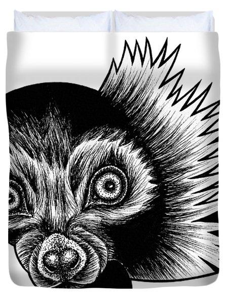 Peeking Lemur - Ink Illustration Duvet Cover