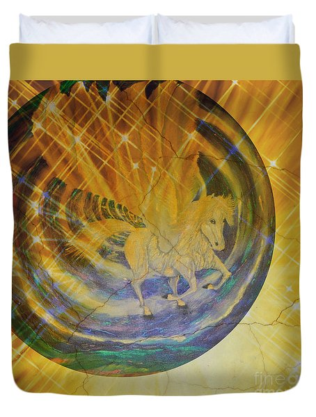 Duvet Cover featuring the mixed media Pegasus Golden Ray by Sabine ShintaraRose