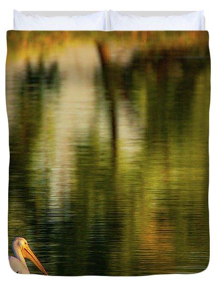 Pelican In Sunlight Duvet Cover