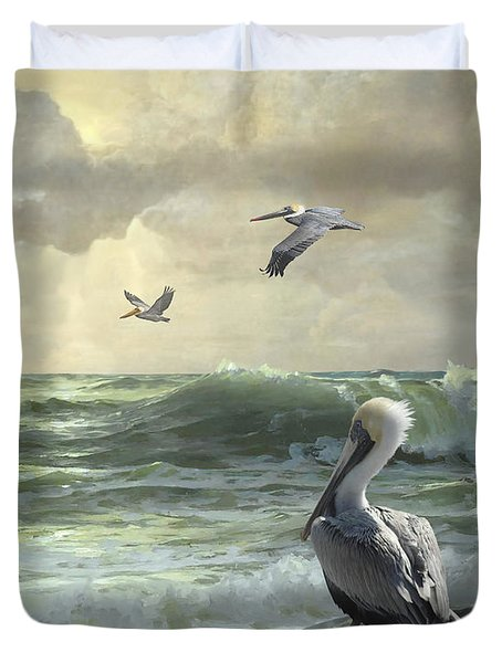 Pelicans In The Surf Duvet Cover