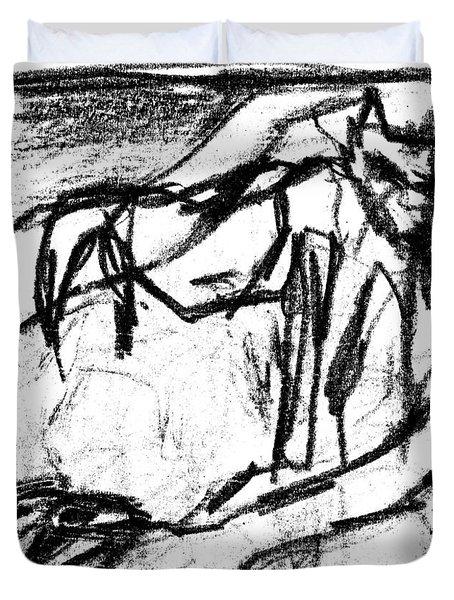 Pencil Squares Black Canine B Duvet Cover