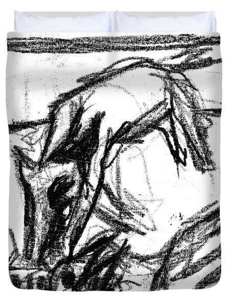 Pencil Squares Black Canine F Duvet Cover