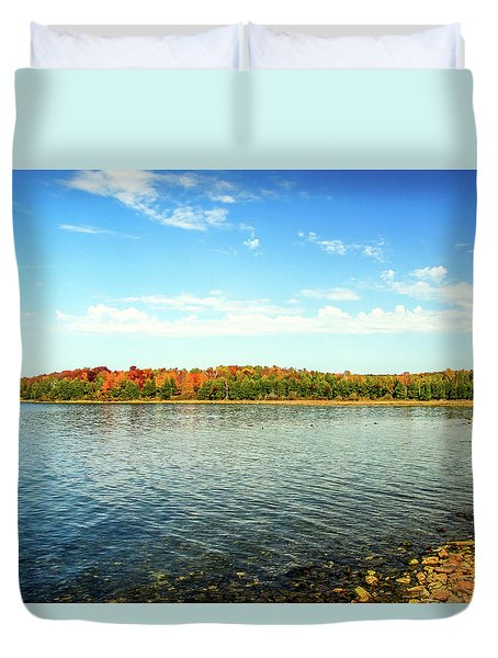 Peninsula Shore In Fall Duvet Cover
