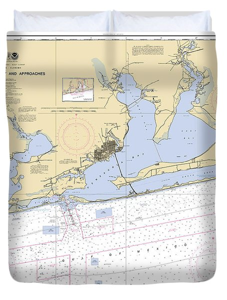 Pensacola Bay And Approaches Noaa Chart 11382 Duvet Cover