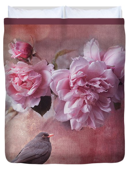 Peonies And Blackbird Duvet Cover