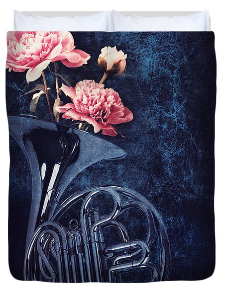 Peonies In A Trumpet Duvet Cover