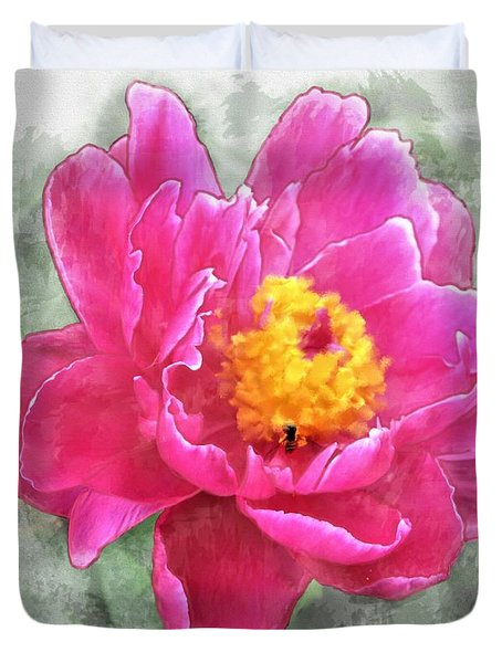 Peony And Bee Duvet Cover