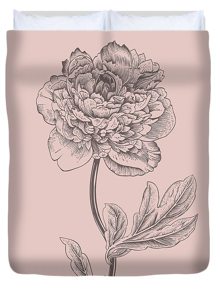 Peony Blush Pink Flower Duvet Cover