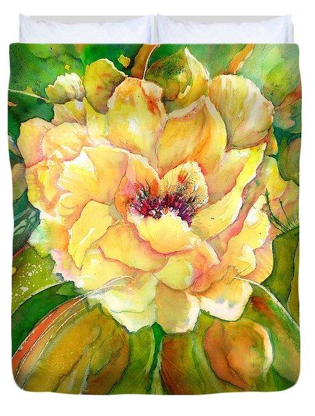 Peony Flower Close-up Duvet Cover