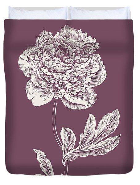Peony Purple Flower Duvet Cover