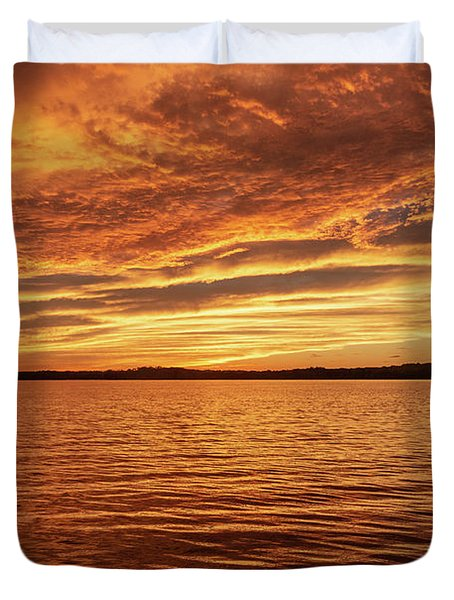 Percy Priest Lake Sunset Duvet Cover