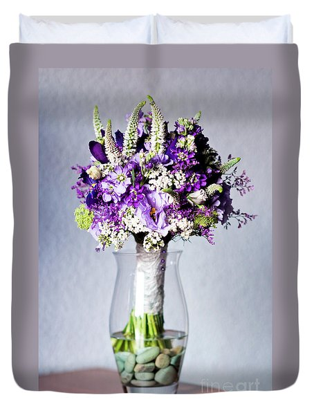 Perfect Bridal Bouquet For Colorful Wedding Day With Natural Flowers. Duvet Cover