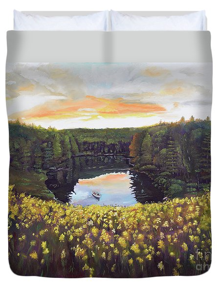 Duvet Cover featuring the painting Perfect Fishing Day On Lake Davenport by Jan Dappen