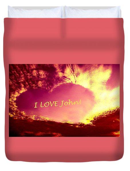 Personalized Heart For John Duvet Cover