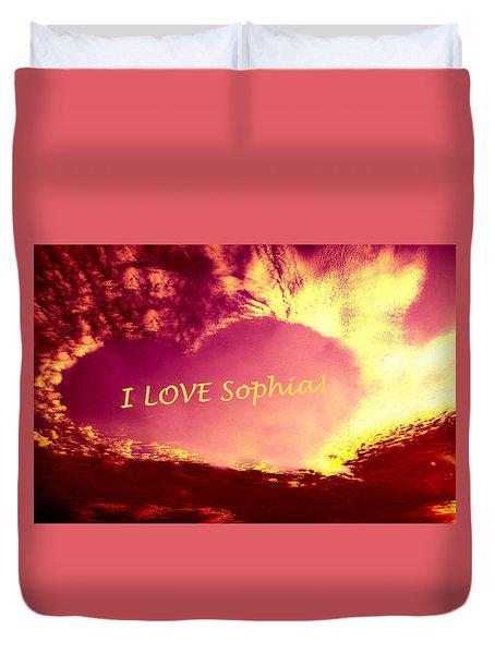 Personalized Heart I Love Sophia Duvet Cover