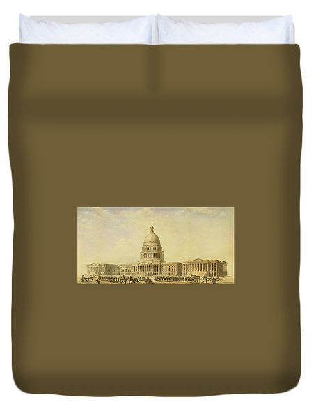 Perspective Rendering Of United States Capitol Duvet Cover