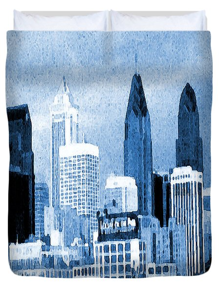 Philadelphia Blue - Watercolor Painting Duvet Cover