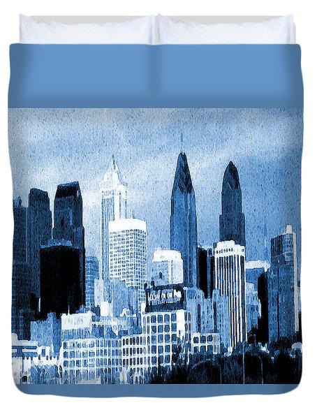 Philadelphia Blue - Watercolor Painting Duvet Cover