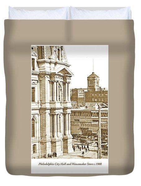 Philadelphia City Hall And Wanamaker Store C 1900 Vintage Photog Duvet Cover