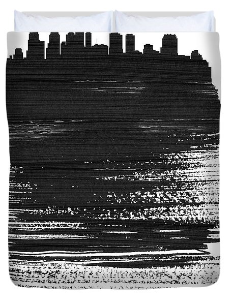 Philadelphia Skyline Brush Stroke Black Duvet Cover