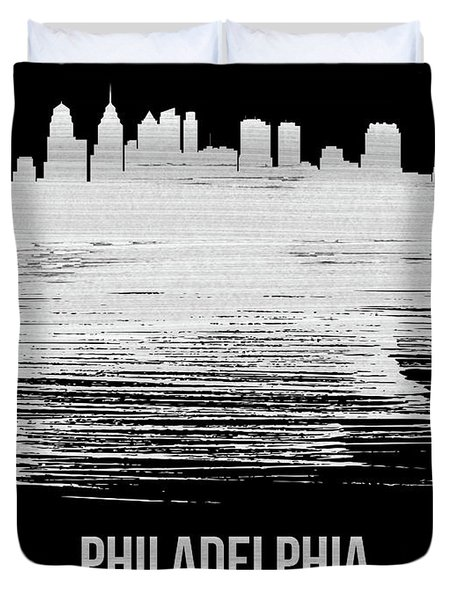 Philadelphia Skyline Brush Stroke White Duvet Cover