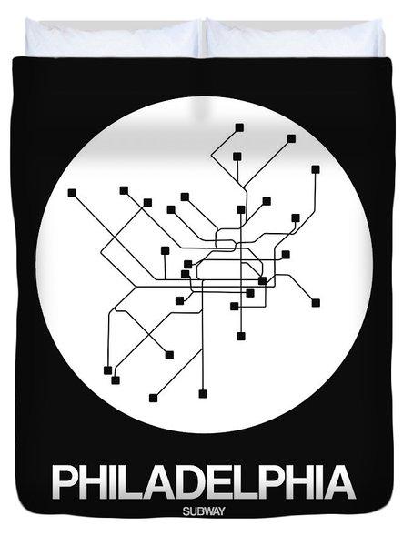 Philadelphia White Subway Map Duvet Cover