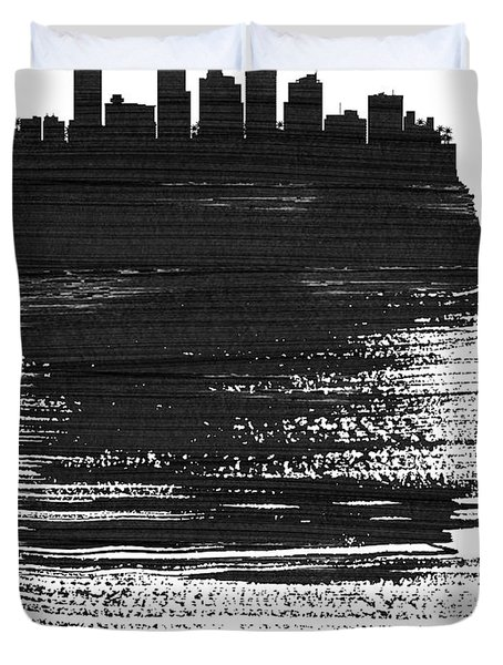 Phoenix Skyline Brush Stroke Black Duvet Cover