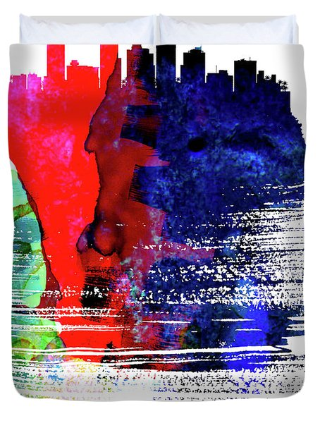 Phoenix Skyline Brush Stroke Watercolor   Duvet Cover