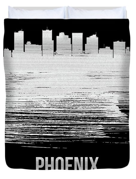 Phoenix Skyline Brush Stroke White Duvet Cover