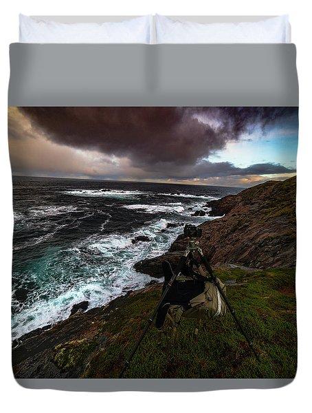 Photo Gear On Landscape Shot Duvet Cover