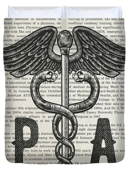Physicians Assistant Gift Idea With Caduceus Illustration 01 Duvet Cover