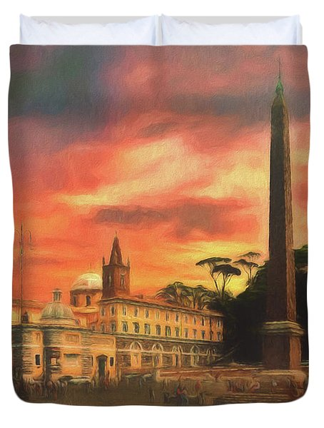 Piazza Del Popolo Rome Duvet Cover
