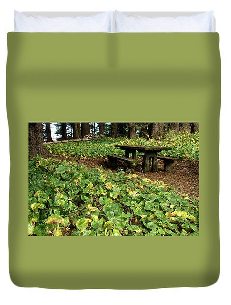 Picnic  Table In The Forest  Duvet Cover