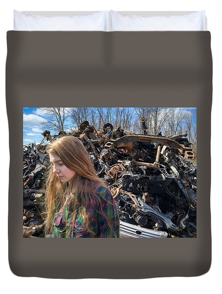 Duvet Cover featuring the photograph Pieces And Parts by Carl Young