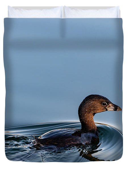 Pied-billed Grebe Duvet Cover
