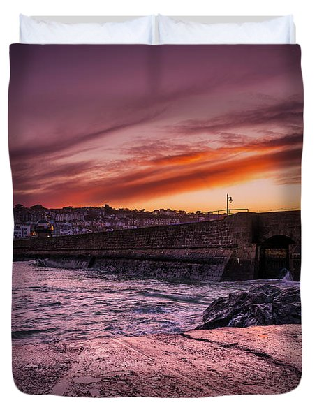 Pier To Pier Sunset Duvet Cover
