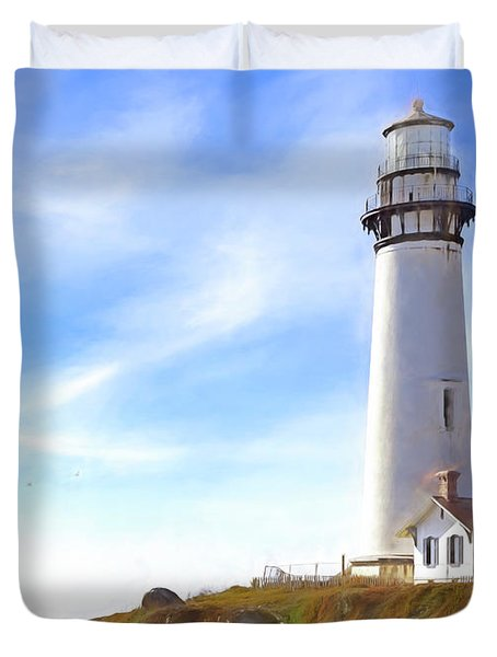 Pigeon Point Lighthouse Ca Duvet Cover