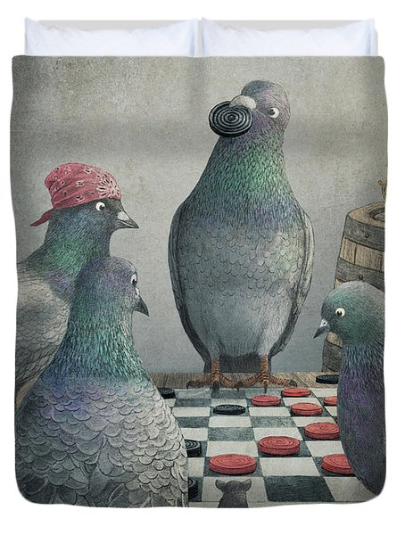 Pigeons Playing Checkers Duvet Cover