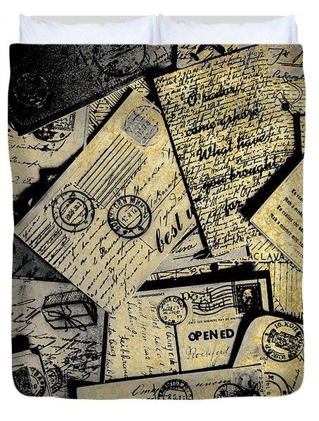 Piled Paper Postcards Duvet Cover
