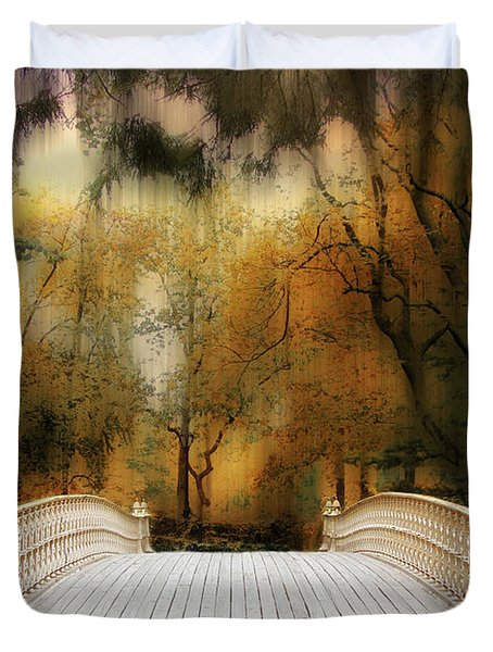 Pine Bank Arch In Autumn Duvet Cover
