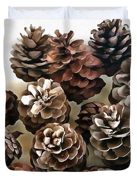 Pine Cones Organic Christmas Ornaments Duvet Cover