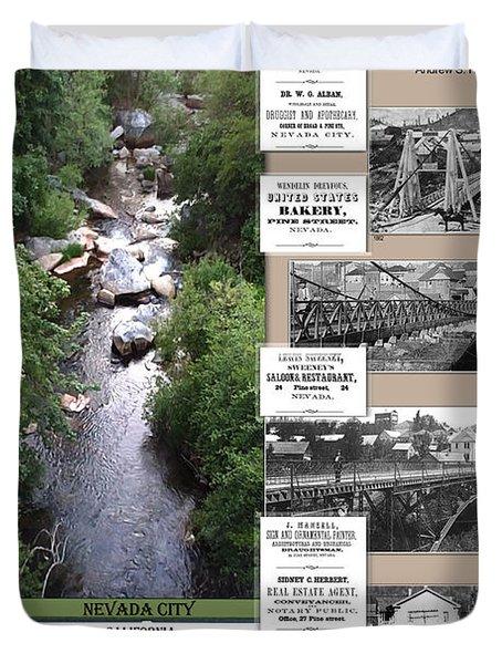 Pine Street Bridge, Nevada City, Ca Duvet Cover