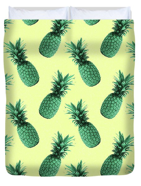 Pineapple Pattern - Tropical Pattern - Summer- Pineapple Wall Art - Blue, Beige - Minimal Duvet Cover