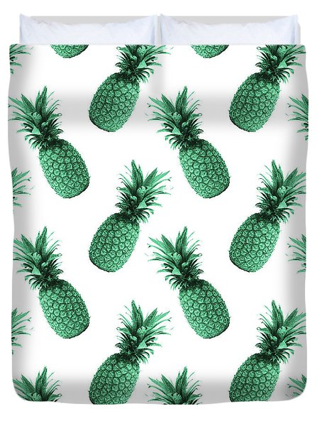 Pineapple Pattern - Tropical Pattern - Summer- Pineapple Wall Art - Blue, White - Minimal Duvet Cover