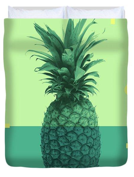 Pineapple Print - Tropical Decor - Botanical Print - Pineapple Wall Art - Blue, Teal, Aqua - Minimal Duvet Cover