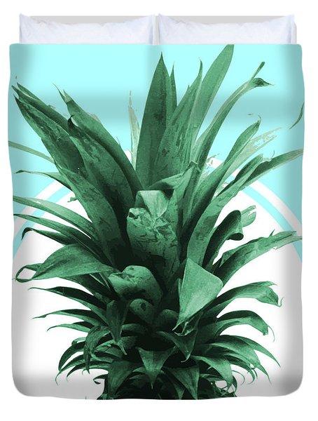 Pineapple Print - Tropical Wall Art - Botanical Print - Pineapple Poster - Blue - Minimal, Modern Duvet Cover