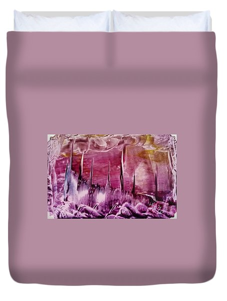 Pink Abstract Castles Duvet Cover