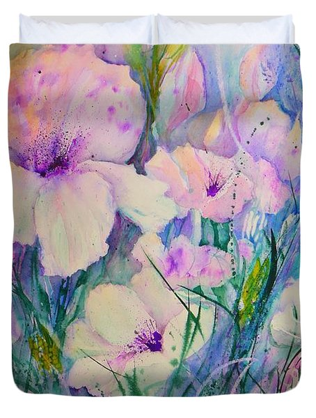 Spring Flower Medley Pink And Purple Duvet Cover