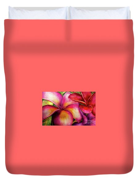 Pink And Red Plumerias Duvet Cover