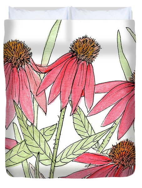 Pink Coneflowers Gather Watercolor Duvet Cover